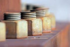 Parafusos industriais - fileira circular imagens de stock