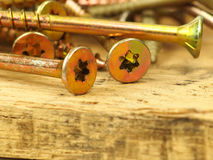 Parafusos na madeira da pálete Foto de Stock Royalty Free