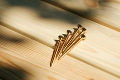 Parafusos nas pranchas de madeira Fotos de Stock Royalty Free