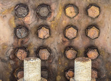 Parafusos oxidados na ponte Imagens de Stock Royalty Free