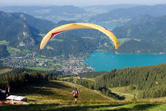 Paragider above the Alps Stock Images