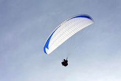 Paraglide. Close up shot of paraglide canopy over sky Royalty Free Stock Images