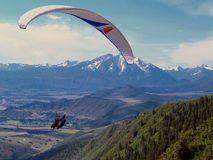 Paraglide in the Colorado Rockies. Paraglider in the Rocky Mountains, with a large mountain in the background and green trees in the bottom Stock Photography