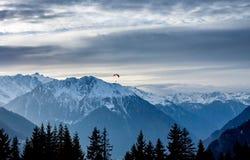 Paraglide di tramonto VI sopra le alpi di inverno Immagini Stock