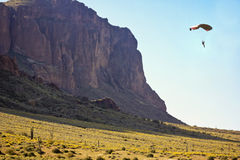 A Paraglide Off Flatiron in the Superstition Mountain Wilderness Royalty Free Stock Images