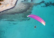 Paraglide over the mediterranean Royalty Free Stock Image