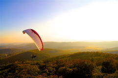 Paraglide parachute evening over the forest. Paraglide evening over the forest sunny Stock Images