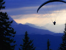 Paraglider. A paraglider in front of an alps-panorama Stock Photos
