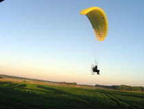 Paraglider. At the sunset stock photos
