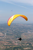 Paraglider. S over Bornes (north Portugal, Europe) landscape royalty free stock photo