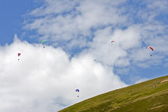 Paraglider. In flight over an English landscape Royalty Free Stock Photos
