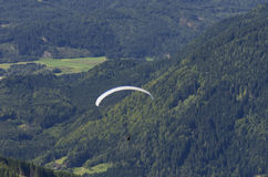 Paraglider above Austrian Alps Royalty Free Stock Photos