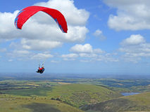 Paraglider above Dartmoor Stock Photo