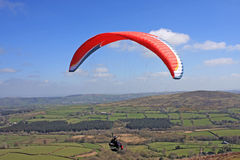 Paraglider above  Dartmoor Royalty Free Stock Images