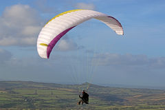 Paraglider above Dartmoor Stock Photography