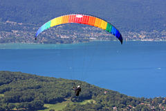 Paraglider above Lake Annecy Royalty Free Stock Photos