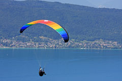 Paraglider above Lake Annecy Stock Image