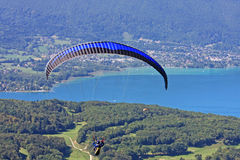 Paraglider above Lake Annecy Royalty Free Stock Image