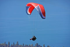 Paraglider above lake Annecy Royalty Free Stock Images