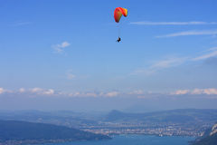Paraglider above Lake Annecy Stock Photography