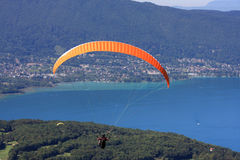 Paraglider above Lake Annecy Stock Photos