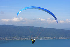 Paraglider above Lake Annecy Royalty Free Stock Photography