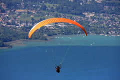 Paraglider above Lake Annecy Royalty Free Stock Photo