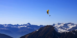 Paraglider above the mountains. French Alps Royalty Free Stock Images