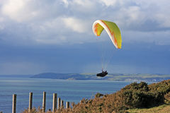 Paraglider above Whitsand Bay Stock Images