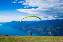 Paraglider in action. Lago di Garda, Italy, Garda lake Royalty Free Stock Images