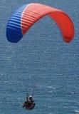 Paraglider agains sunny ocean. Pacific ocean at torrey pines ca Stock Images