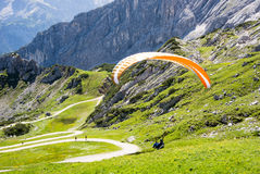 Paraglider in the alps of Bavaria Stock Photography