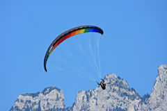 Paraglider in the Alps. Paraglider flying in the French Alps Stock Photography