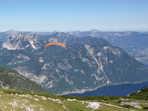 Paraglider. In Austrian Alps above lake Hallstatsee Stock Photography