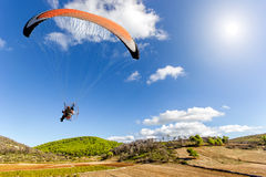 Paraglider on a beautiful landscape Royalty Free Stock Images