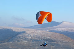 Paraglider in the Brecon Beacons Royalty Free Stock Photography