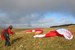 Paraglider in the Brecon Beacons Royalty Free Stock Image