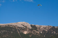 Paraglider at Cazorla mountain Royalty Free Stock Photo