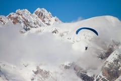 Paraglider on Dolomites. Paganella ski, trento Royalty Free Stock Photo