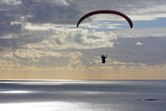 Paraglider at dusk Royalty Free Stock Images