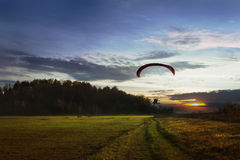 Paraglider final approach before landing Royalty Free Stock Images