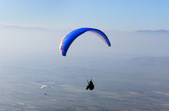 Paraglider in flight Royalty Free Stock Photo