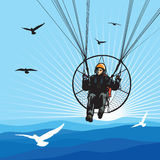 Paraglider Flight With Birds Royalty Free Stock Photo
