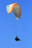 Paraglider flying. From the Gilboa mountains, Israel Royalty Free Stock Image