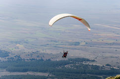 Paraglider flying above fields and woods Royalty Free Stock Photo
