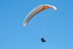Paraglider Flying in the Blue Stock Photo