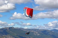 Paraglider in the French Alps Royalty Free Stock Photography
