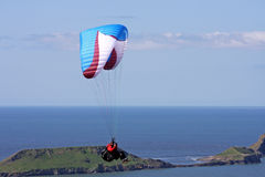 Paraglider over Rhossili Royalty Free Stock Photo