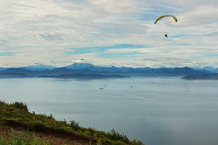Paraglider flying over Avacha Bay from Mishennaya hills Royalty Free Stock Photo