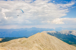 Paraglider flying over mount Tahtali Royalty Free Stock Photography